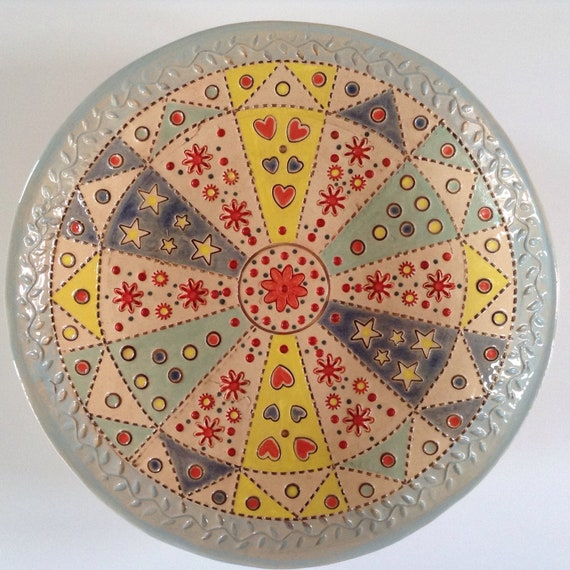 Handmade Ceramic Patchwork Patterned Bowl, quilting, stitching, textiles, stitchy detail, dresden plate