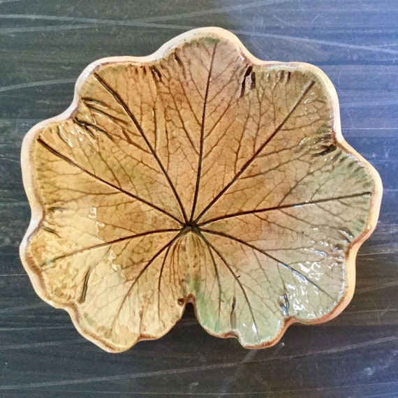 Handmade ceramic leaf, dish, ornament, leaf imprint, natural, botanical