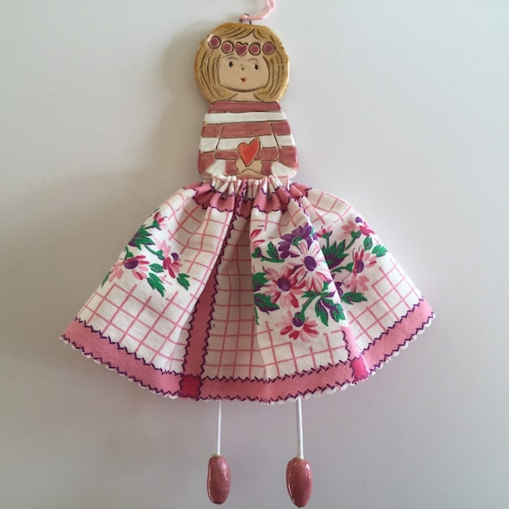 IN STOCK Little Dancer (Pink Floral). Art doll, handmade, mixedmedia, ceramic and fabric, vintage, unique, colourful