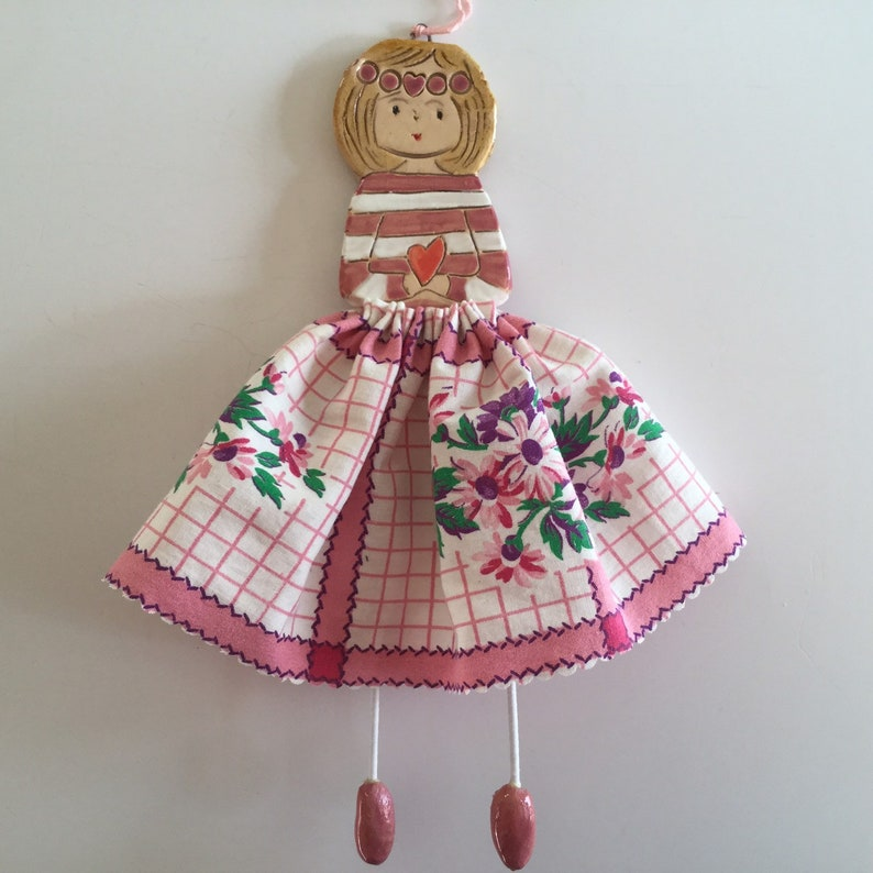 mixedmedia handmade Art doll colourful Pink Floral ceramic and fabric IN STOCK Little Dancer vintage unique