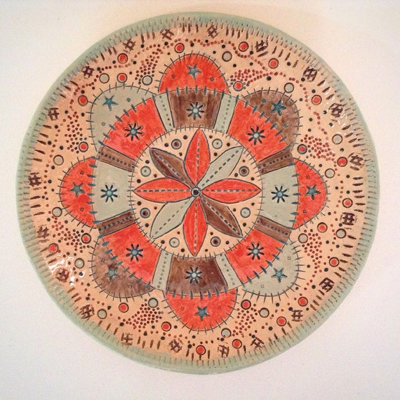 Handmade Ceramic Patchwork Patterned Bowl, quilting, stitching, textiles, stitchy detail