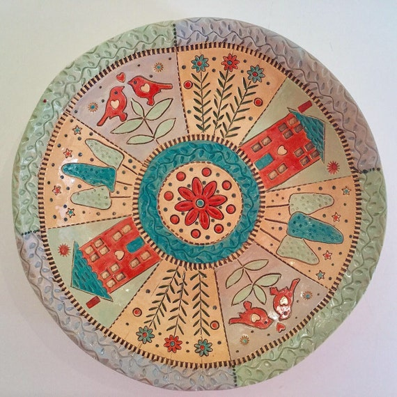 Handmade Ceramic Patchwork Patterned Bowl, mandala, Dresden Plate, quilting, stitching, textiles, stitchy detail