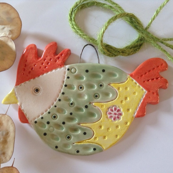 Ceramic Hanging Hen, handmade, Chicken, Kitchen decor, bright and cheerful, nice little gift, unique