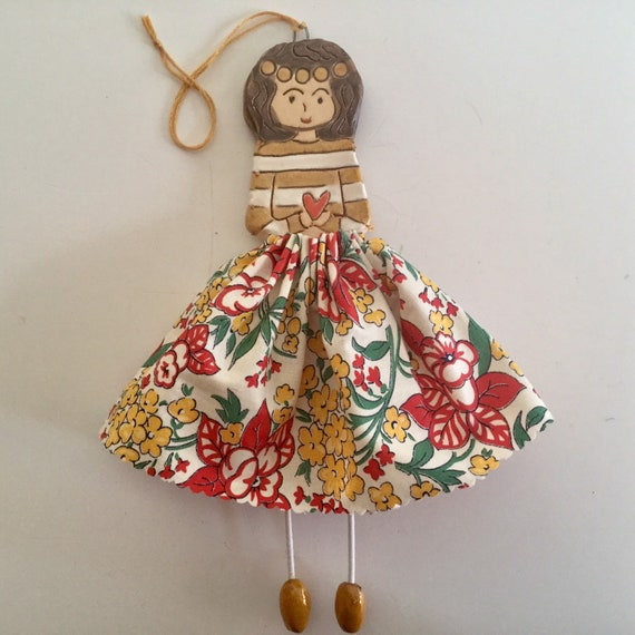 IN STOCK Little Dancer (Honeysuckle) Art doll, handmade, mixedmedia, ceramic and fabric, vintage, unique, colourful