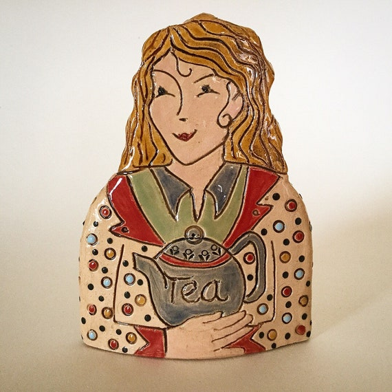 IN STOCK Lady with Teapot. Handmade ceramic bust, mini-bust, Colourful People, collectible, one of a kind