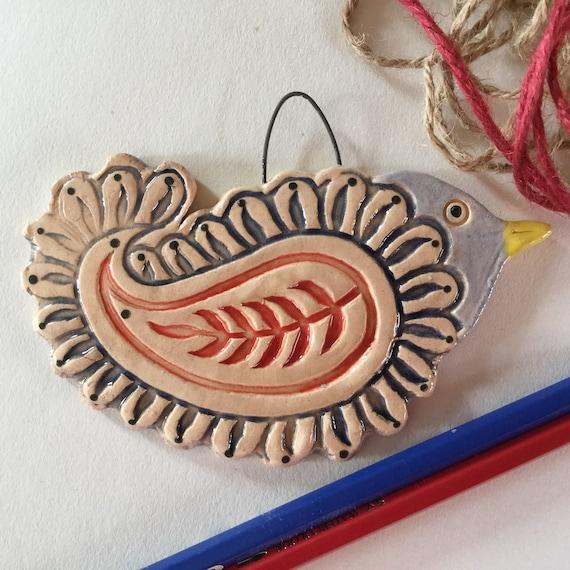 Handmade Ceramic Paisley Hanging Bird