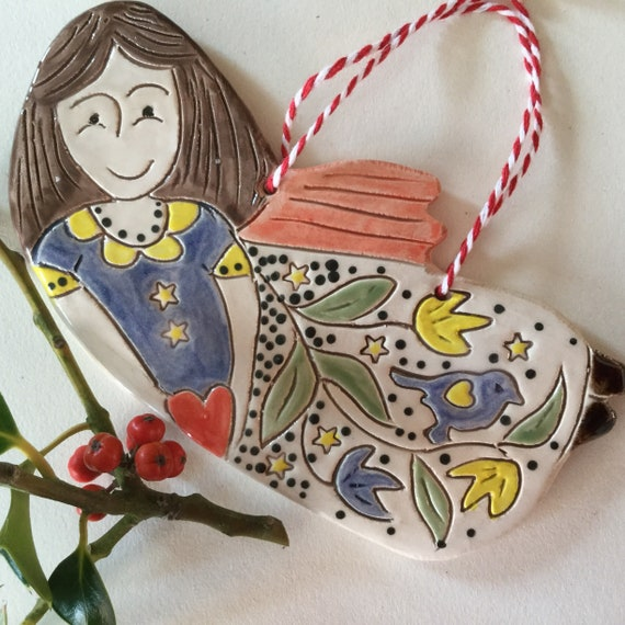 Handmade Ceramic Hanging angel, pattern, colour, folk art, unique, one off, original