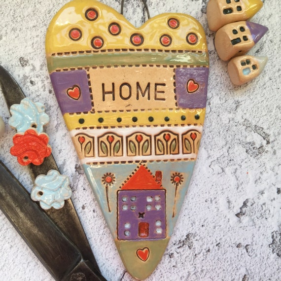 Ceramic heart, 14 x 8cm (5.5 x 3ins), handmade hanging decor, pattern, colour, folk art, home, housewarming, kitchen decor