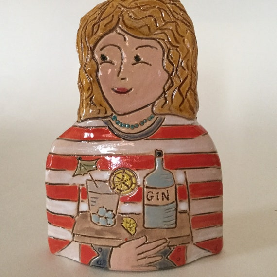 IN STOCK Lady with Gin. Handmade ceramic bust, mini-bust, Colourful People, collectible, one of a kind