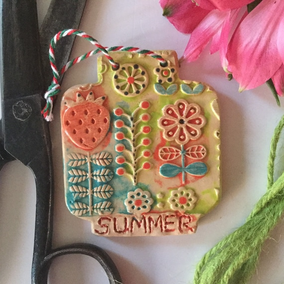 Handmade Ceramic Wall Hanging, small, jar-shaped, folk art, scandi theme, home, summer, house, pattern