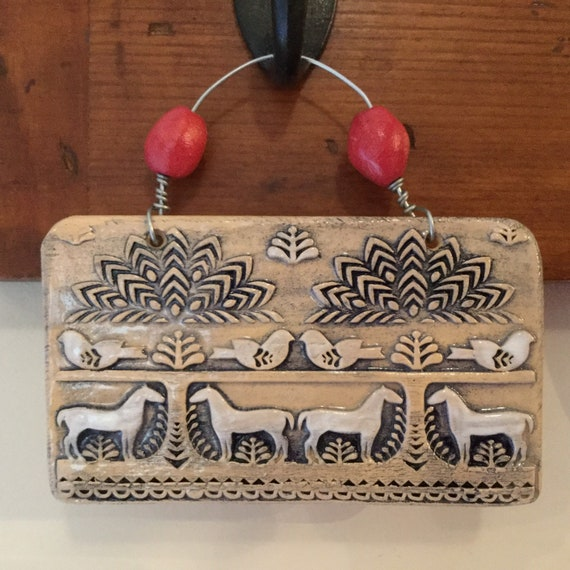 Handmade Ceramic Wall Hanging, folk art, country scene, farmyard, pattern, ornament