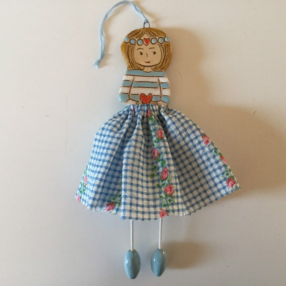 IN STOCK Little Dancer (blue gingham), Art doll, handmade, mixedmedia, ceramic and fabric, vintage, unique, colourful