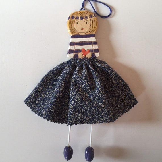 IN STOCK Little Dancer (Navy Floral). Art doll, handmade, mixedmedia, ceramic and fabric, vintage, unique, colourful