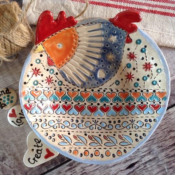 Handmade Ceramic Dish, patterned bowl, hen dish, decorative, cheerful, ideal gift