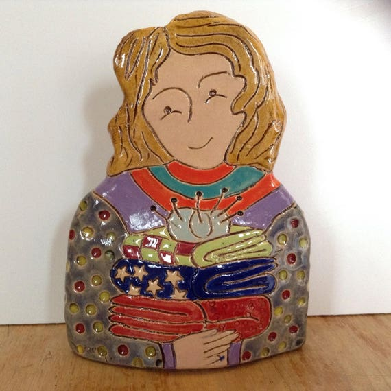ON PRE-ORDER Lady with Quilts.  Handmade ceramic bust, mini-bust, Colourful People, collectible, one of a kind