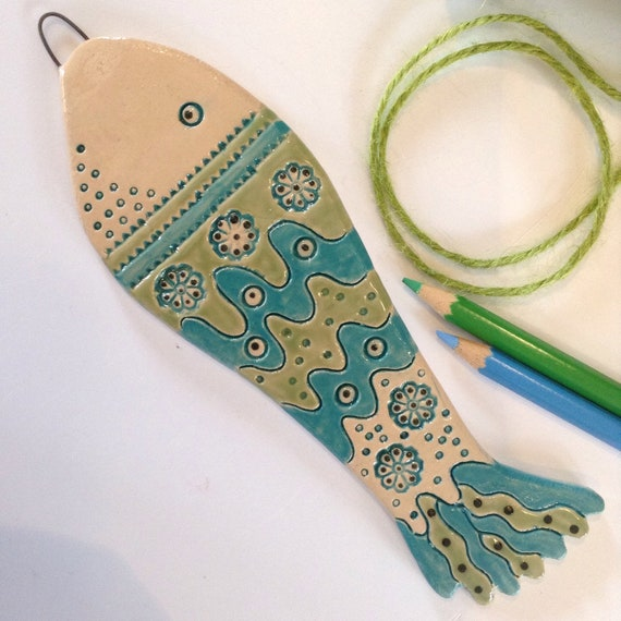 Ceramic fish, hanging fish, handmade, hand glazed, hanging decoration, coastal decoration, ornament, colour and pattern, beach hut decs