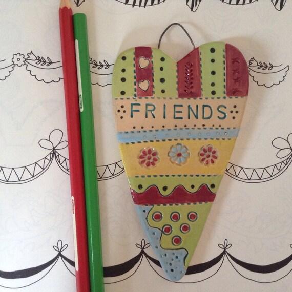 Handmade Ceramic Hanging Heart, friends, friendship heart, pattern, colour, folk art