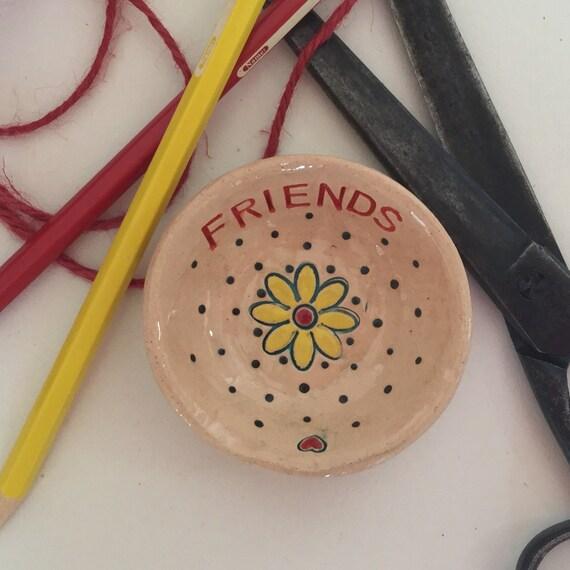 Handmade Tiny ceramic dish, trinket dish, pins dish, friends, friendship, gift