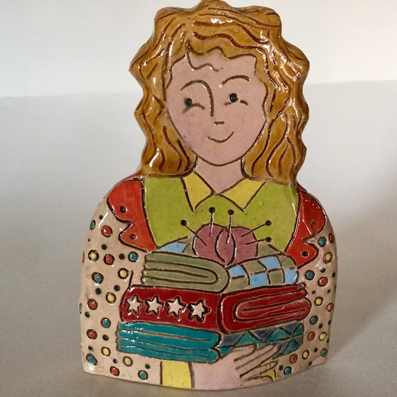 IN STOCK: Lady with Quilts.  Handmade ceramic bust, mini-bust, Colourful People, collectible, one of a kind