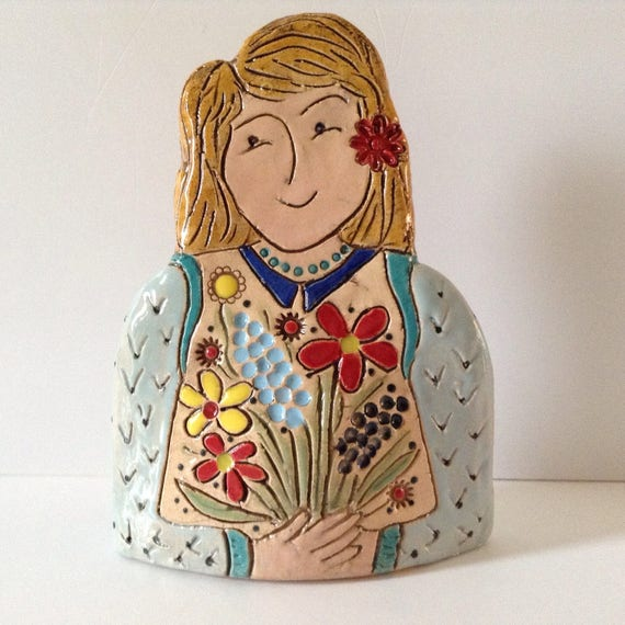 On PRE-ORDER.  Lady with Flowers.  Handmade ceramic bust, mini-bust, Colourful People, collectible, one of a kind