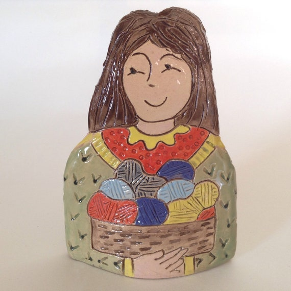 IN STOCK NOW. Lady with Yarn. Handmade ceramic bust, mini-bust, Colourful People, collectible, one of a kind