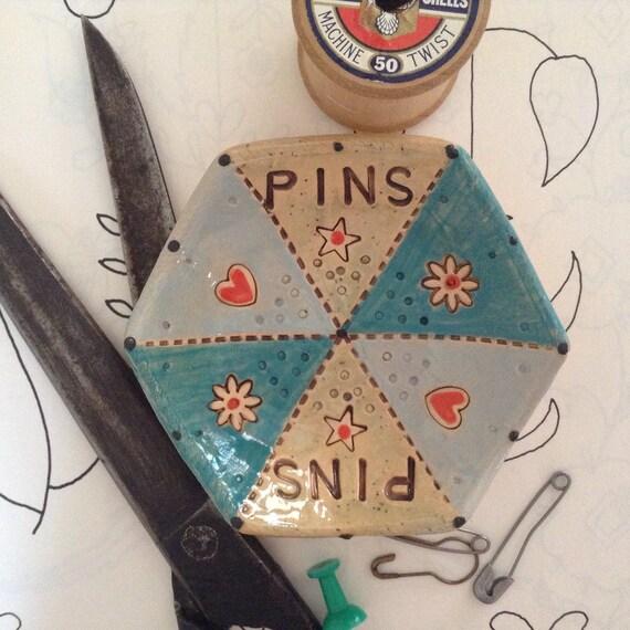 Handmade Tiny ceramic dish, pins dish, hearts, flowers, stars, quilt pattern, decorative, hexie, hexagon, patchwork