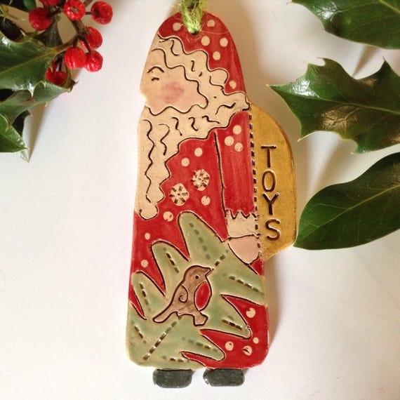 Handmade ceramic Santa, hanging decoration, christmas decoration, ornament, folkart santa, handglazed, detailed, Father Christmas