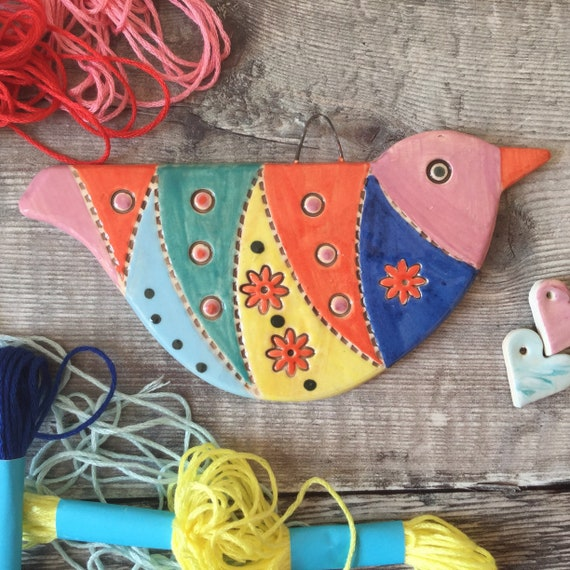 Handmade Ceramic Hanging Bird. 14cm x 6.5cm (5.5ins x 2.5ins)