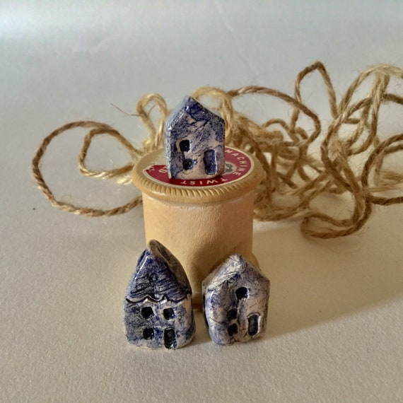 Set of 3 tiny ceramic houses. Handmade, handglazed, House, home, colour, house-warming, gift.