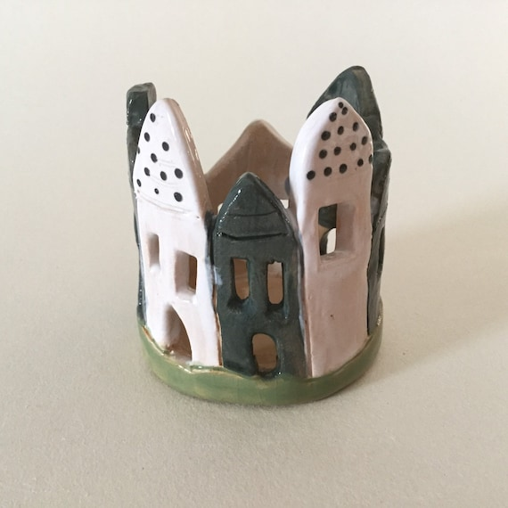 Handmade Ceramic tealight holders, candle holders, houses, castle, candlelight