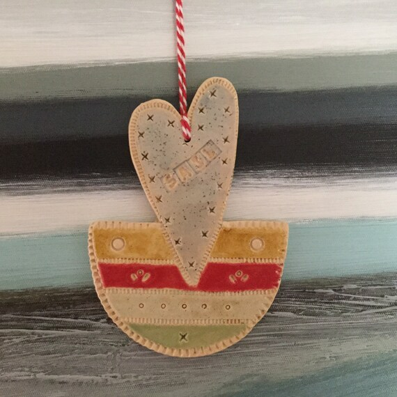 Handmade Ceramic sail boat, pattern, colour, folk art, heart-shaped, sailing
