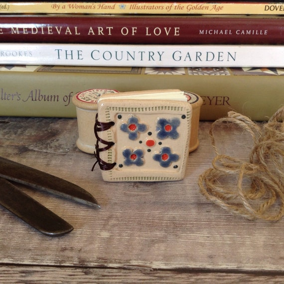 Ceramic Book, tiny book, handmade, blank book, ceramic covered book