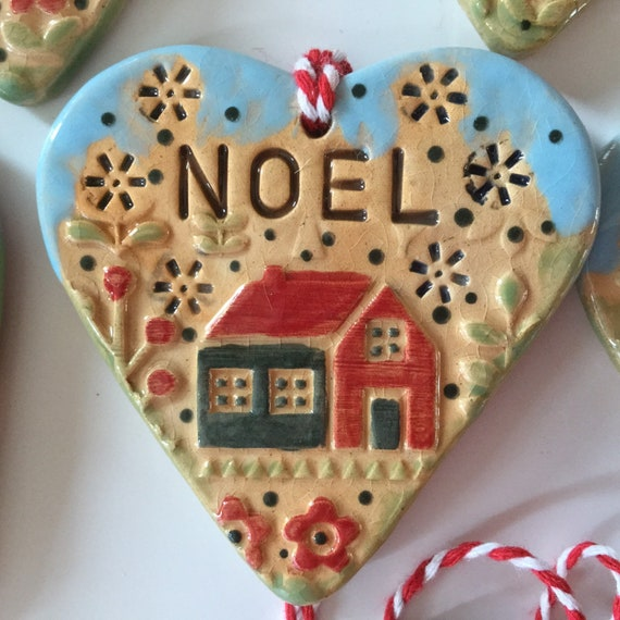 Handmade Ceramic Hanging decoration. Christmas heart, Christmas ornament, scandi decoration