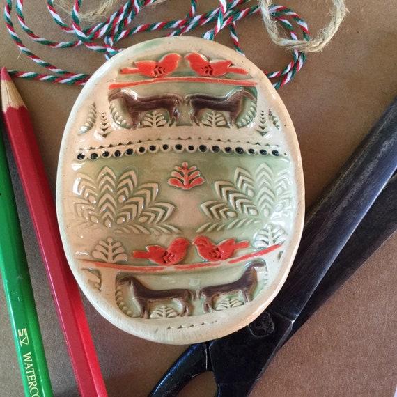 Handmade Tiny ceramic dish, trinket dish, pins dish, folk art pattern, horses and birds, homestead, vintage