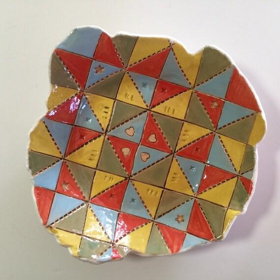 Handmade ceramic dish, quiltblock pattern, star pattern, trinket dish, pin dish, sewing gift