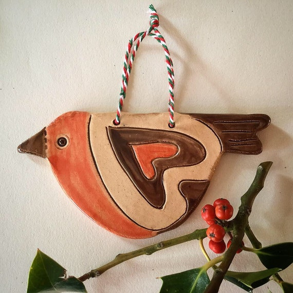 Handmade ceramic Robin, hanging decoration, christmas decoration, ornament, Robin Redbreast, handglazed, detailed, retro.