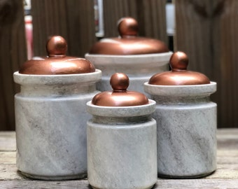 Copper Lid White Grey Marble Kitchen Canister Set, Modern Kitchen Canisters,  Upscale Kitchen Canisters, Marble Jars, Set Of 4 Canisters