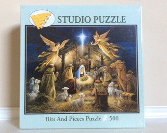 VTG New! Studio 500 Piece Puzzle Bits and Pieces, 'In The Manger'.