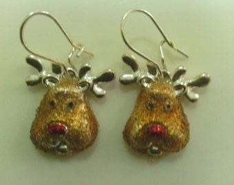 Fun! Festive Reindeer drop Earrings.