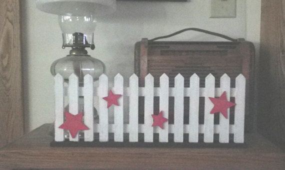 Red White Blue Picket Fence Wall Hanging Shelf Decor