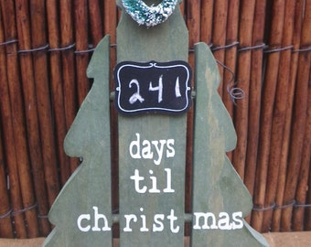 Count Down to Christmas Wooden Tree ~ Days til Christmas ~ Holiday Decor