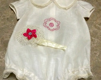 Baby girl cloth, delicate handmade bodysuit, customizable