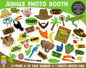 PRINTABLE Jungle Photo Booth Props–Jungle Props-Jungle Animals Photo Props-Jungle  Photo Props-Jungle Safari-Jungle Animals-Instant Download 9fcb577c1aea