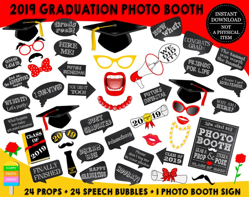 image regarding Graduation Photo Booth Props Printable referred to as PRINTABLE Commencement Picture Booth Props 20192019 Commencement Props-Cl of 2019 Props-Commencement Bash Props-Fast Obtain-GP19