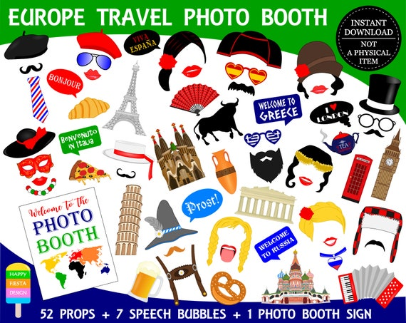 Printable Europe Photo Booth Propseurope Travel Photo Props Travel