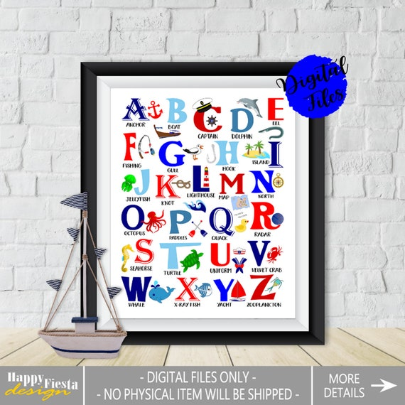 image about Alphabet Poster Printable named Nautical Alphabet Poster-PRINTABLE Alphabet-Nautical ABC