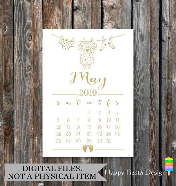 Baby Calendar May : Printable pregnancy announcement calendar may due