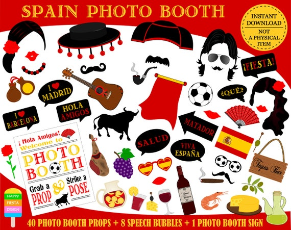 graphic relating to Free Printable Superhero Photo Booth Props identify PRINTABLE Spain Photograph Booth PropsSpanish Image Props