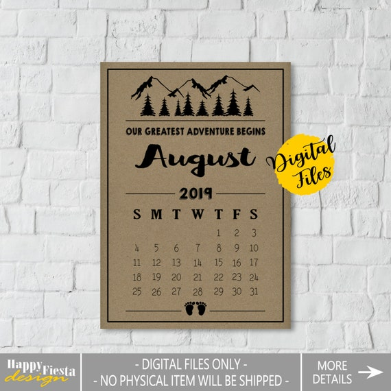 image relating to Printable Baby Announcement called PRINTABLE Being pregnant Announcement Calendar August 2019-Kid