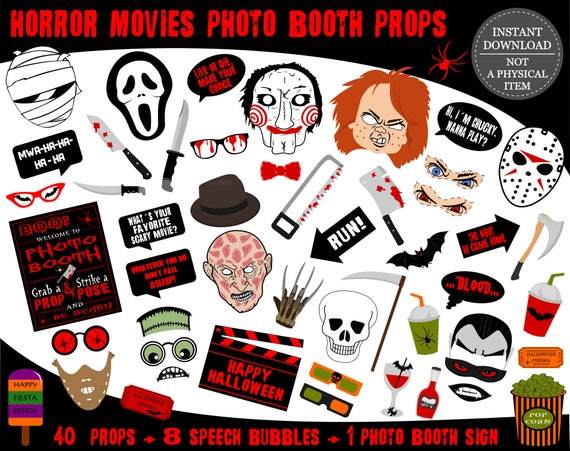 PRINTABLE Horror Movies Photo Booth PropsHalloween Photo | Etsy